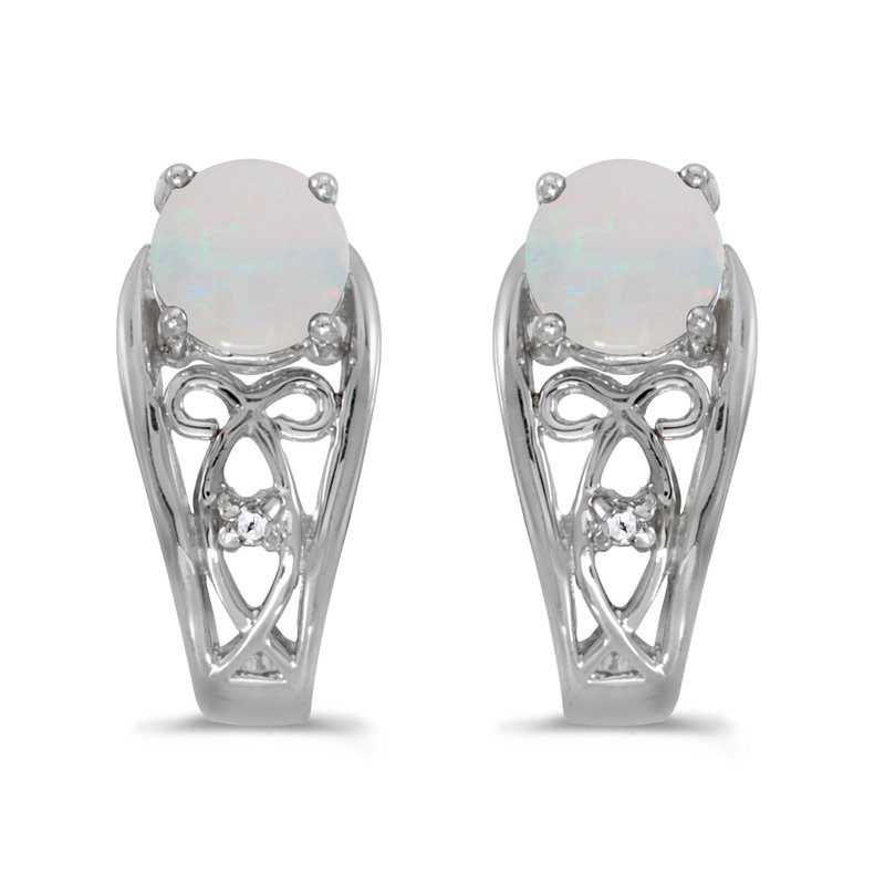 Color Merchants 10k White Gold Round Opal And Diamond Earrings