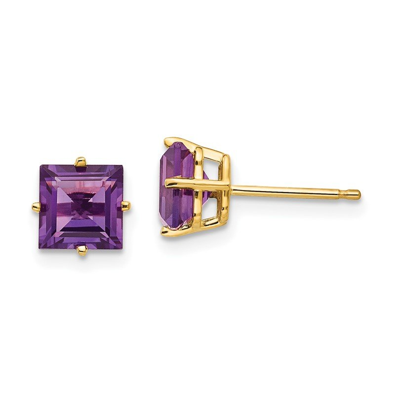 Fine Jewelry by JBD 14k 6mm Princess Cut Amethyst Earrings