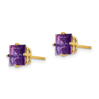 14k 6mm Princess Cut Amethyst Earrings