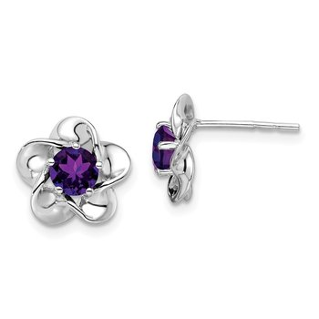 Sterling Silver Rhodium-plated Floral Amethyst Post Earrings