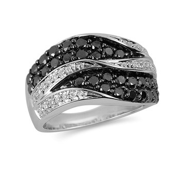 14K WG White and Black Diamond Fashion Ring with J Back