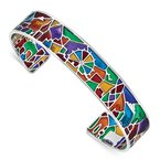 Quality Gold Sterling Silver Rhod-plated Mosaic Multi-color Enamel London Cuff Bangle