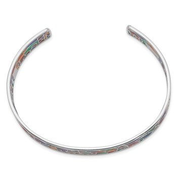 Sterling Silver Rhod-plated Mosaic Multi-color Enamel London Cuff Bangle