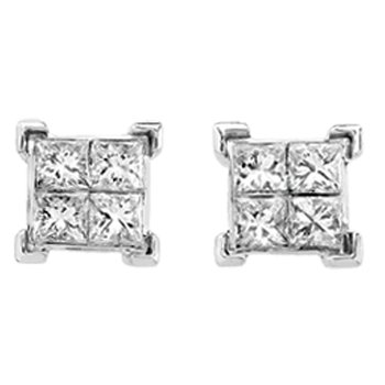 Invisible set Princess cut Diamond Stud Earrings in 14k White Gold (1 ct. tw.)