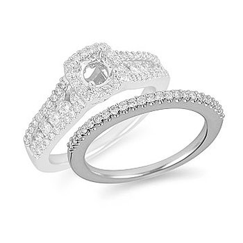 18K WG Diamond  Matching Wedding Band in Prong Setting