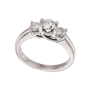 14k White Gold 0.75 Ct Three Stone Trellis Diamond Ring