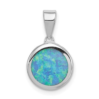 Sterling Silver Rhod-plated Lab Created Opal Round Pendant