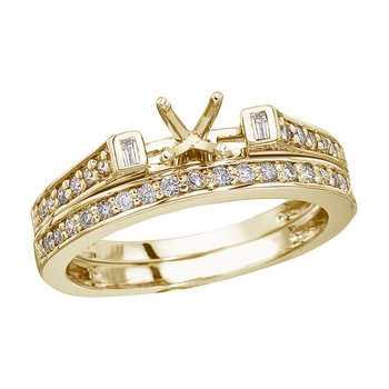 14K Yellow Gold Baguette Diamond Bridal Ring Set