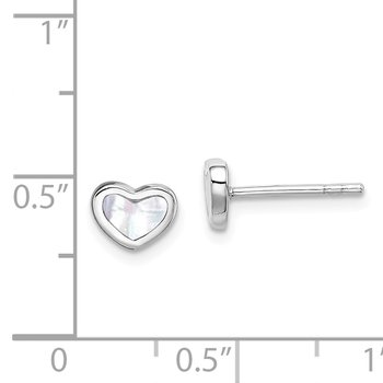 Sterling Silver Rhodium Plated White Mother of Pearl Heart Post Earrings