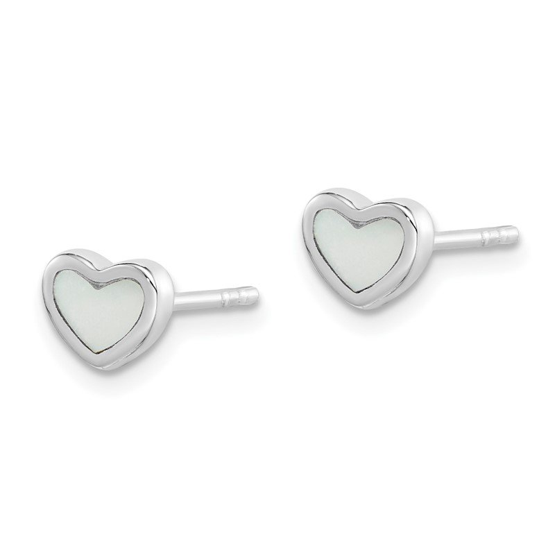 Quality Gold Sterling Silver Rhodium Plated White Mother of Pearl Heart Post Earrings