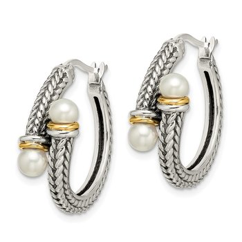 Sterling Silver w/ 14k 4mm FW Cultured Pearl Hoop Earrings