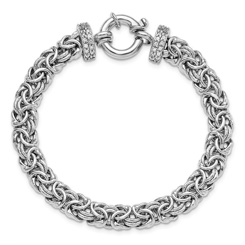Leslie's Leslie's Sterling Silver Polished and Textured CZ Bracelet