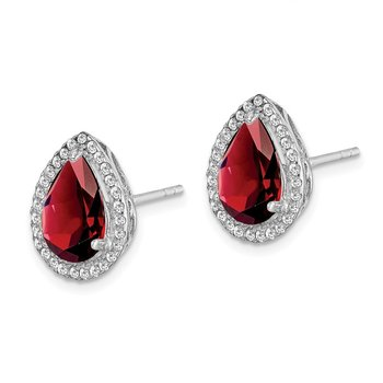 Sterling Silver Rhodium Polished Garnet & CZ Post Earrings