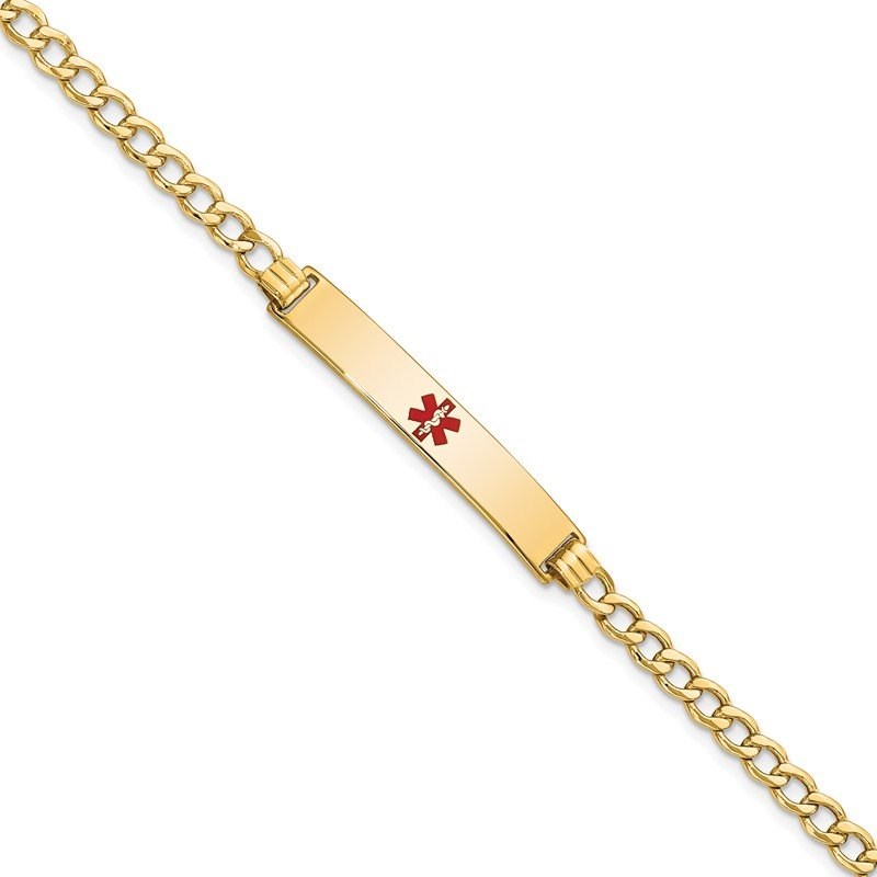 Quality Gold 14K Semi-Solid Medical Polished Red Enamel Curb ID Bracelet