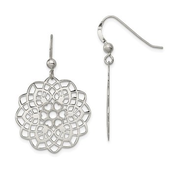 Sterling Silver Polished and Textured Flower Dangle Earrings