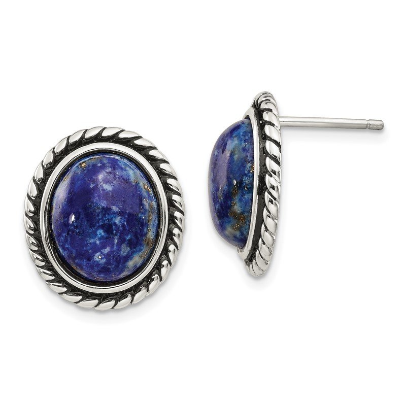 Quality Gold Sterling Silver Polished/Antiqued Lapis Cabochon Post Earrings