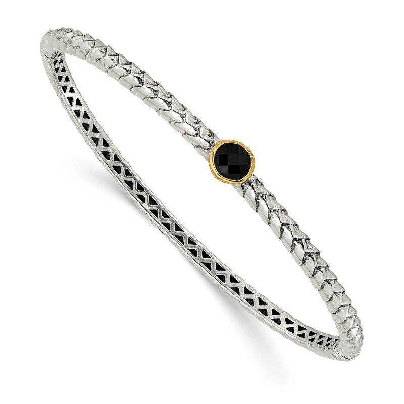 Quality Gold Sterling Silver w/14k Antiqued 6mm Onyx Bangle Bracelet