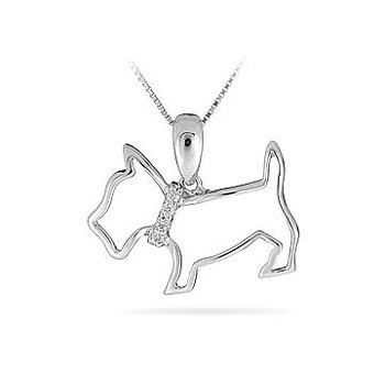 10K WG Diamond Puppy Pendant in Prong Setting
