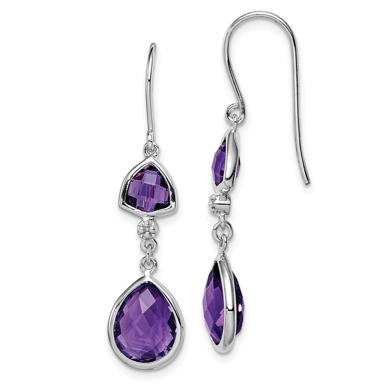 Quality Gold Sterling Silver Rhodium Plated Diamond Amethyst Dangle Earrings