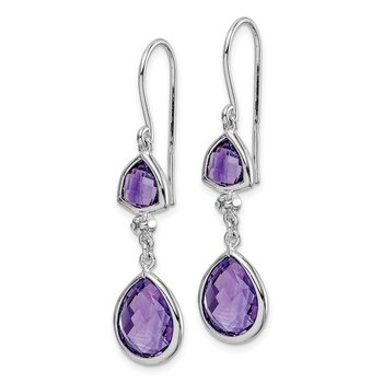 Sterling Silver Rhodium Plated Diamond Amethyst Dangle Earrings