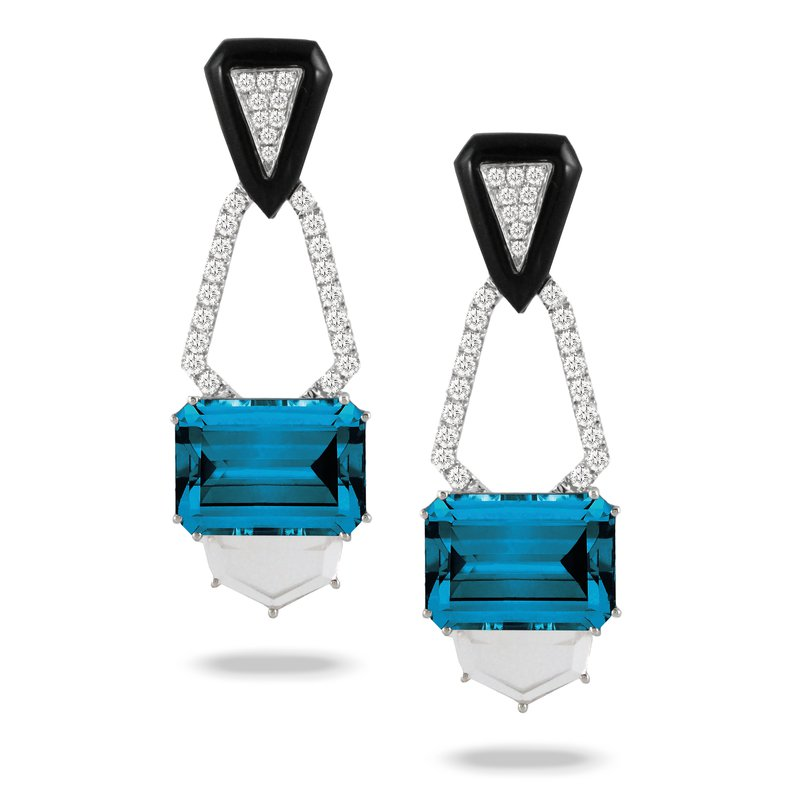 Doves London Blue Topaz & Onyx Earrings 18KW