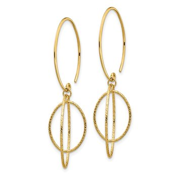 14K Dangle Textured Threader Earrings