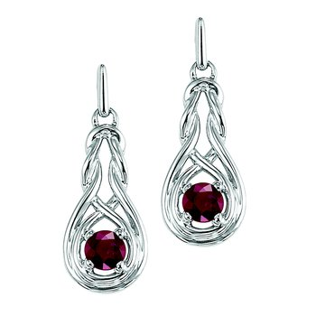 Silver Ruby Earrings (Available In all BirthStones)