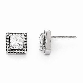 SS Rhodium-Plated & CZ Brilliant Embers Square Post Earrings