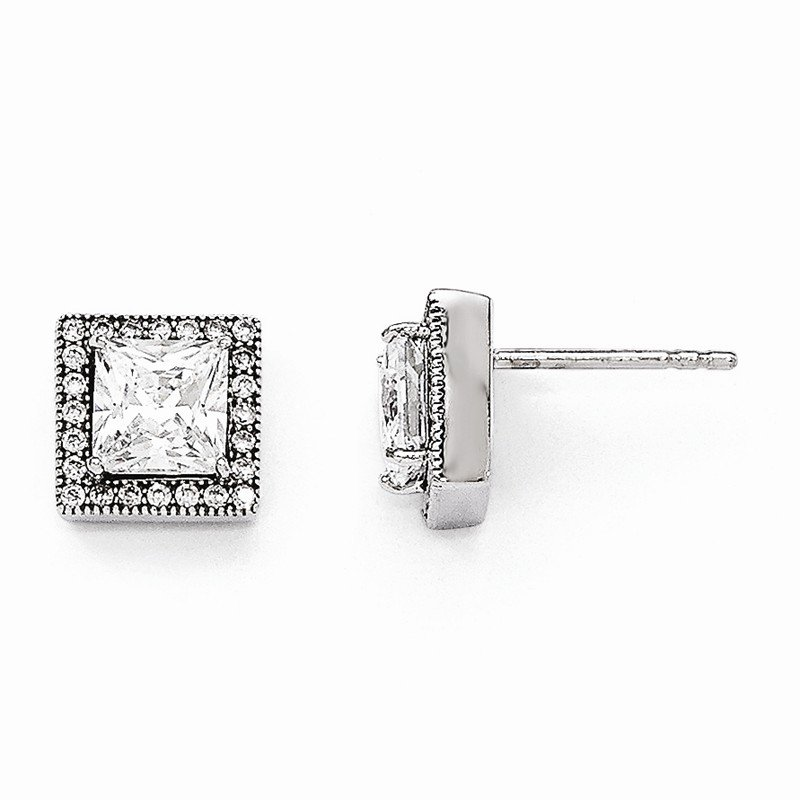 Quality Gold Sterling Silver & CZ Brilliant Embers Square Post Earrings