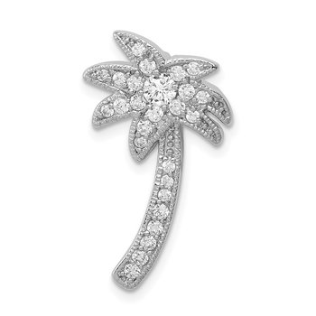 Sterling Silver Rhodium Plated CZ Palm Tree Chain Slide