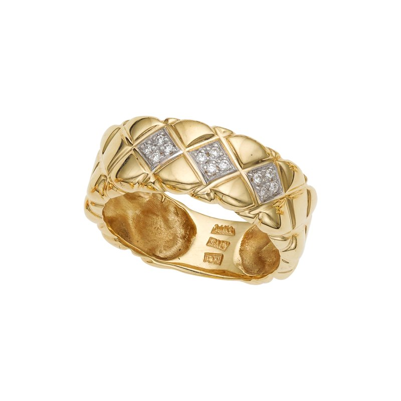 Royal Chain 14K Gold Diamond Pyramid Ring
