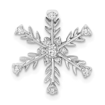 14k White Gold 1/6ct. Diamond Snowflake Chain Slide