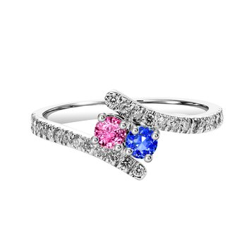 Silver with 1 Blue & 1 Pink and White Sapphire on shank Two Stone Ring