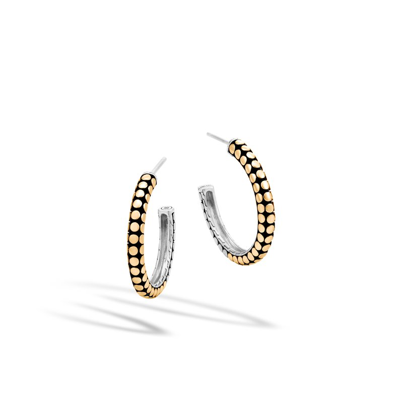 JOHN HARDY Dot Small Hoop Earring in Silver and 18K Gold