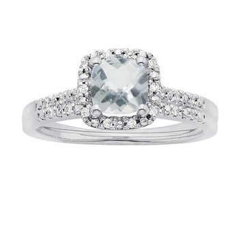 14k White Gold Cushion Aquamarine and 1/8ct TDW Diamond Halo Bridal Set