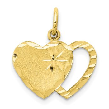 10k Solid Diamond-cut Double Heart Charm