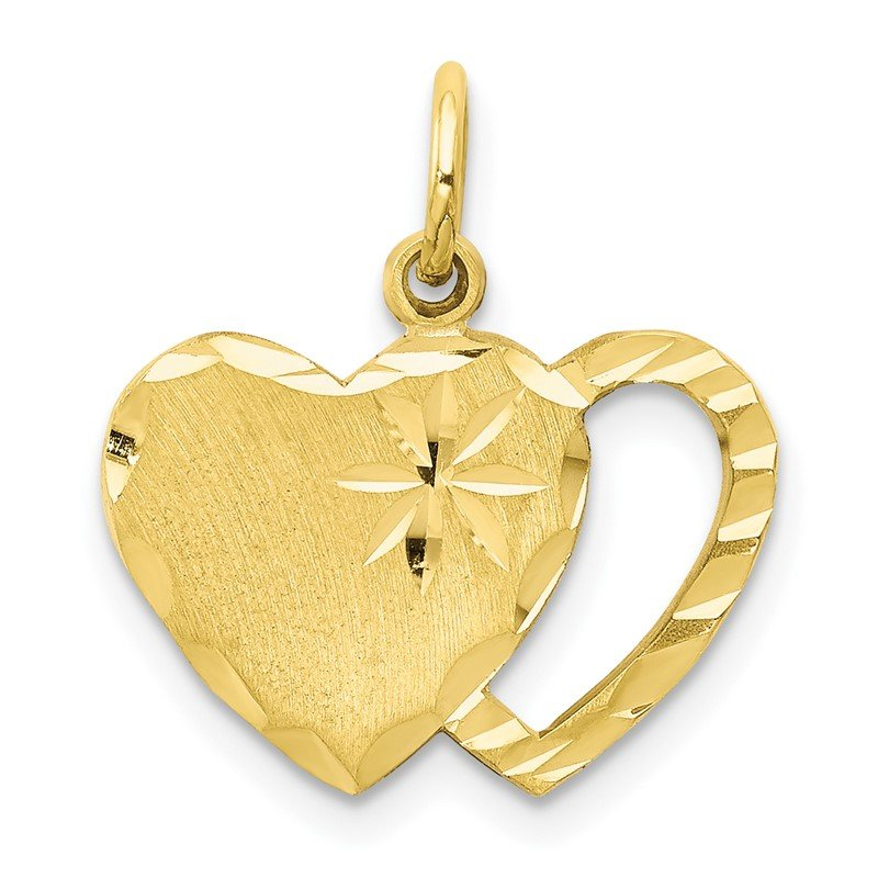 Quality Gold 10k Solid Diamond-cut Double Heart Charm