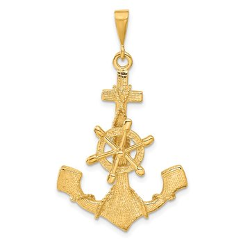 14k Large Anchor w/ Moveable Wheel Charm