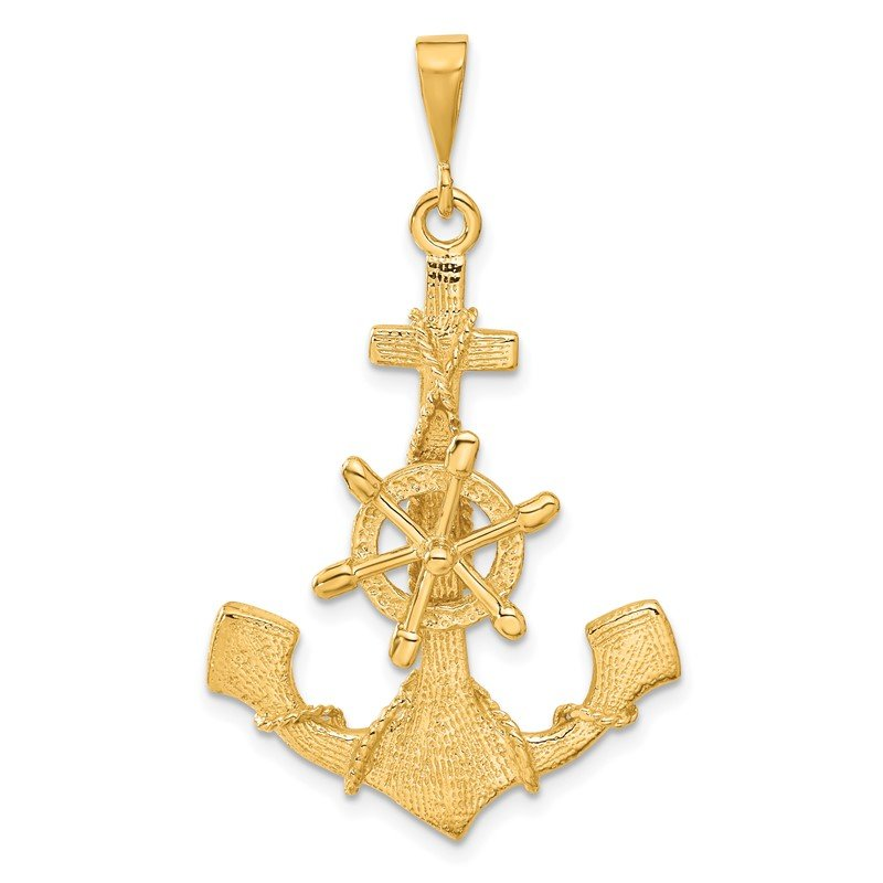 Quality Gold 14k Large Anchor w/ Moveable Wheel Charm