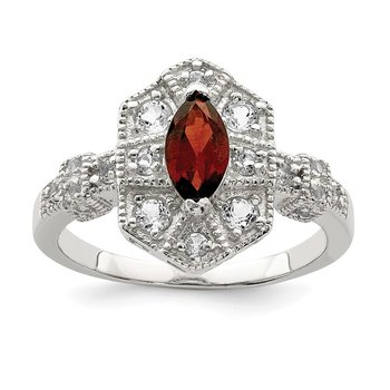 Sterling Silver Dark Red Marquise CZ Ring