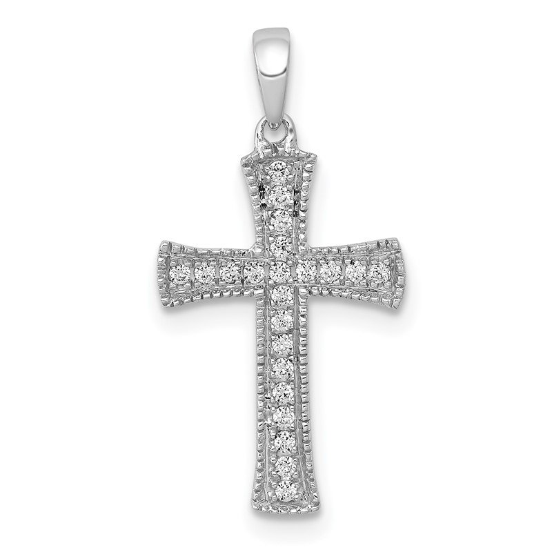 Quality Gold 14k White Gold 1/10ct. Diamond Cross Pendant