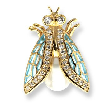 Turquoise Cicada Lapel Pin.18K -Diamonds - Freshwater Pearl - Plique-a-Jour