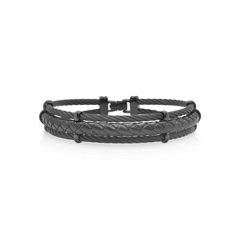 Black Cable & Black Leather Bracelet