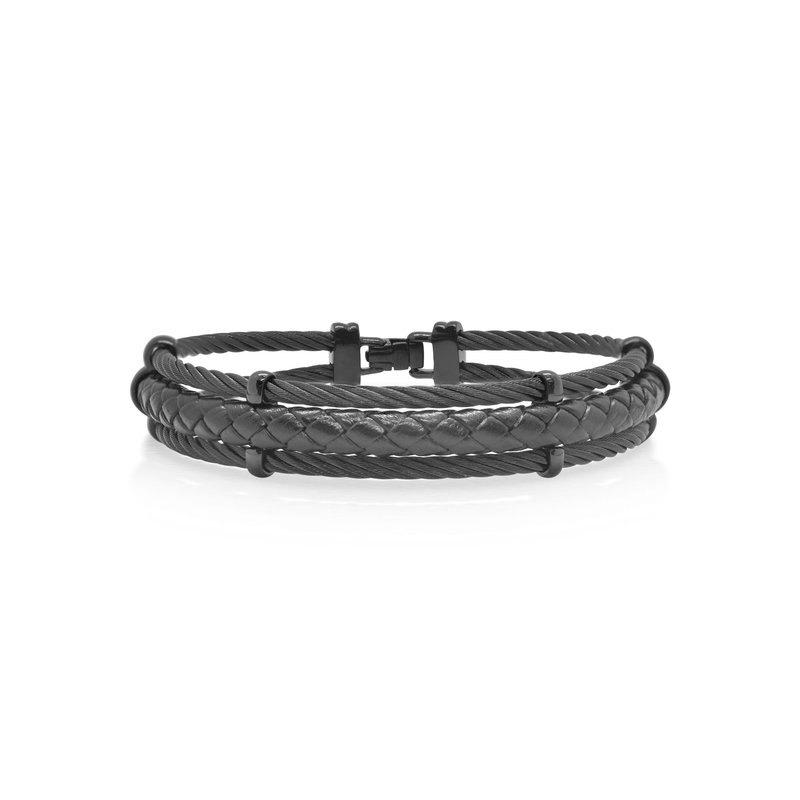 ALOR Black Cable & Black Leather Bracelet