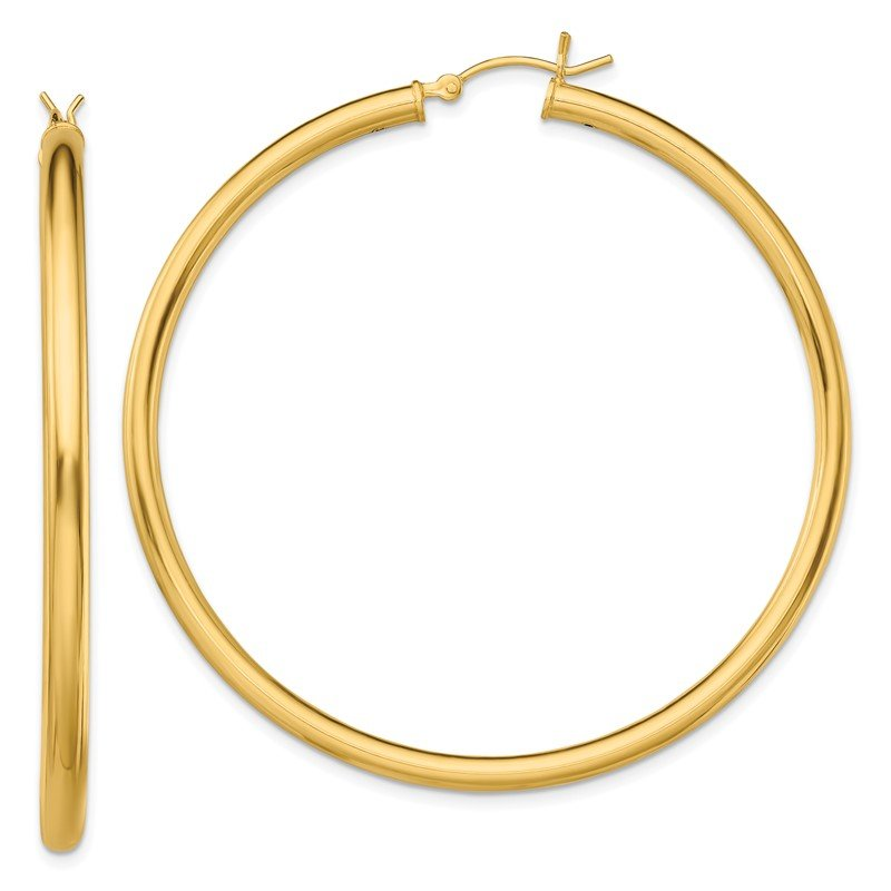 Quality Gold Sterling Silver Gold-Tone Polished 3x55mm Hoop Earrings