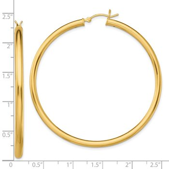 Sterling Silver Gold-Tone Polished 3x55mm Hoop Earrings