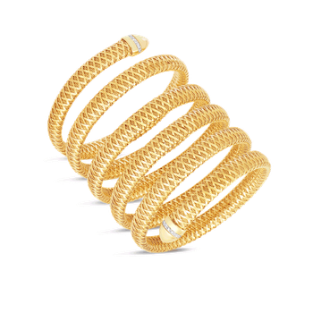 Flexible Snake Cuff With Diamonds &Ndash; 18K Yellow Gold