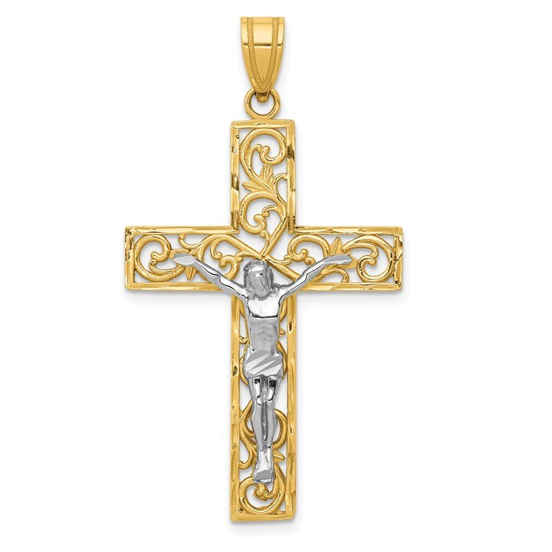 J.F. Kruse Signature Collection 14K Two-Tone D/C Large Block Filigree Crucifix Pendant