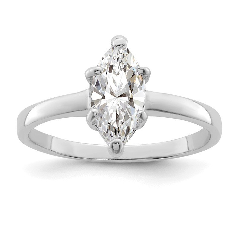 Quality Gold Sterling Silver Rhodium-plated Solitaire Marquise CZ Ring