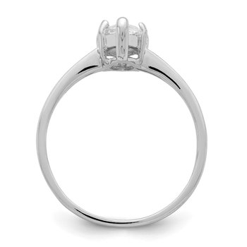 Sterling Silver Rhodium-plated Solitaire Marquise CZ Ring
